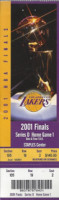 2001 NBA Finals Gm 1 76ers at Lakers ticket stub