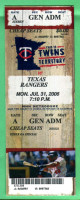 2006 Rangers at Twins ticket stub