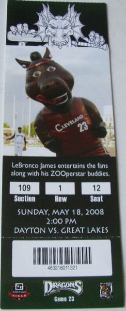 2008 MiLB Midwest League Great Lakes Loons at Dayton Dragons ticket stub
