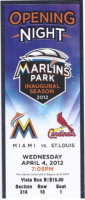 2012 Cardinals at Marlins Opening Day ticket stub