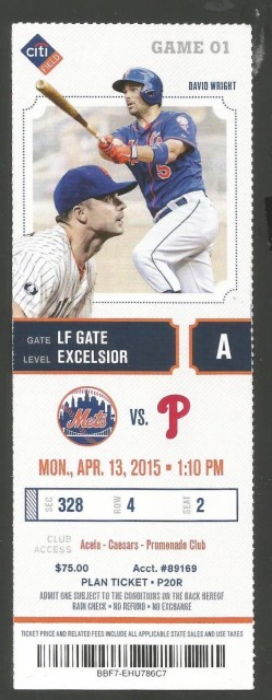 2015 Phillies at Mets opening day ticket stub
