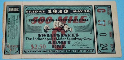 1930 Indianapolis 500 Ticket Stub