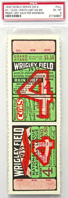 1932 World Series BABE Ruth last WS Game Full TICKET PSA 6 5000