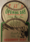 Die cut ticket stub from 1952 Toledo Mud Hens opening day