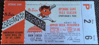 1953 Detroit Tigers at St. Louis Browns Opening Day Ticket Stub