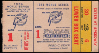 1954 World Series Gm 1 Indians at Giants Willie Mays Catch ticket stub 417