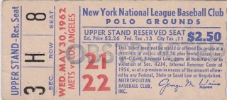 1962 Dodgers at Mets Ticket Stub - Koufax Win, Hodges 3 HR, Wills 2 HR, Triple Play 10