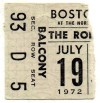 1972 Rolling Stones ticket stub – Boston Garden
