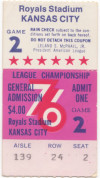 1976 ALCS Gm 2 Yankees at Royals ticket stub