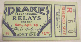 1931 Track and Field Drake Relays ticket stub
