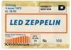 1973 Led Zeppelin Gothenburg Ticket Stub