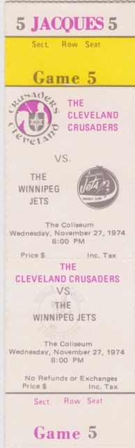 1974 WHA Winnipeg Jets at Cleveland Crusaders ticket stub