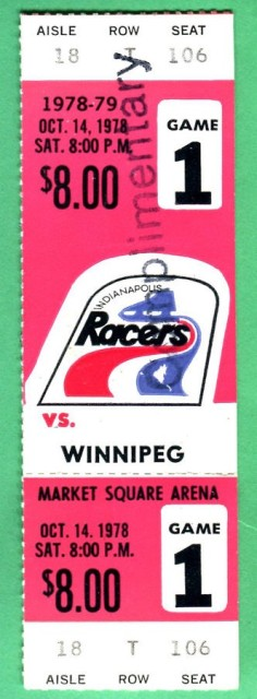 1978 WHA Jets at Racers ticket stub 29