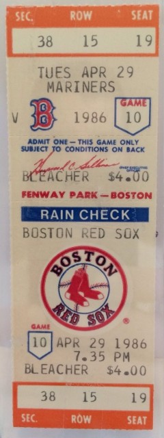 1986 Mariners at Red Sox Clemens Strikes out 20 ticket stub 22.04