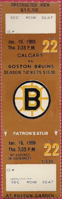 1986 NHL Flames at Bruins ticket stub