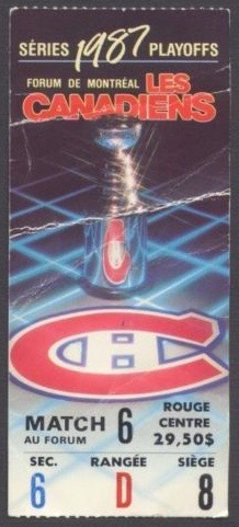 1987 NHL Playoffs Gm 7 Nordiques at Canadiens ticket stub 9