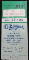 1992 White Sox at Rangers Preseason ticket stub