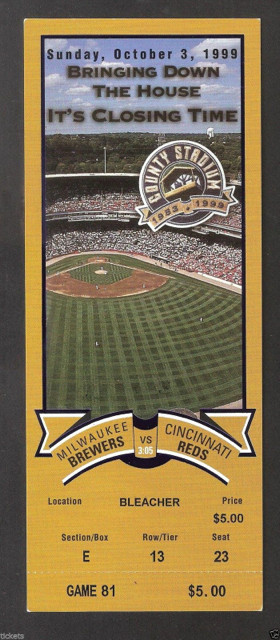 1999 Reds at Brewers County Stadium Final Day ticket stub