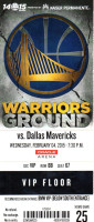2015 NBA Mavericks at Warriors ticket stub