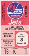 1982 AHL Sherbrooke Jets ticket stub vs St Catharines