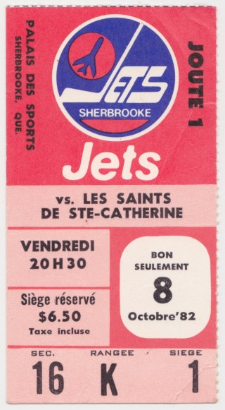 1982 Sherbrooke Jets ticket stub vs St Catharines for sale