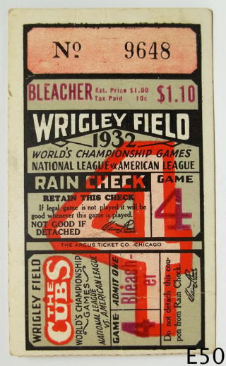 1932 World Series Game 4 Ticket Stub New York at Chicago