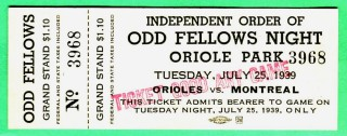 1939 Montreal Royals at Baltimore Orioles ticket stub
