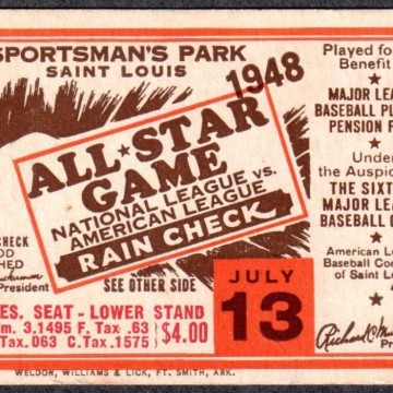 1948 MLB All Star Game St. Louis ticket stub