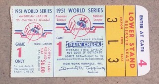 1951 World Series Game 1 Ticket Stub Giants at Yankees