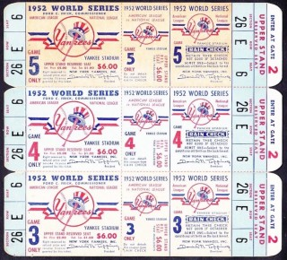 1952 World Series Games 3 4 5 Dodgers at Yankees Full Tickets