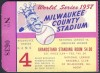 1957 World Series Game 4 ticket stub Yankees vs Braves