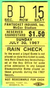 1967 Pawtucket Indians ticket stub