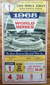 1968 World Series Game 1 ticket stub Tigers at Cardinals Bob Gibson