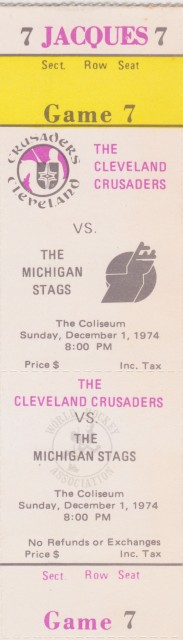 1974 WHA Michigan Stags at Cleveland Crusaders ticket stub