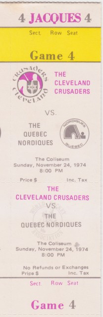 1974 WHA Quebec Nordiques at Cleveland Crusaders ticket stub – Version 4