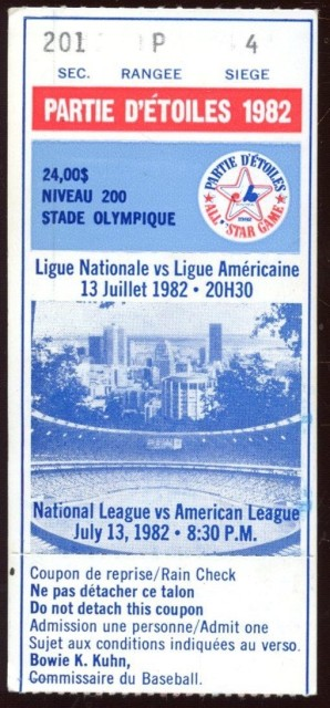 1982 MLB All Star Game Montreal ticket stub 35