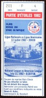 1982 MLB All Star Game Montreal ticket stub