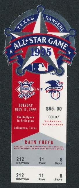 1995 MLB All Star Game at Texas ticket stub 34.50