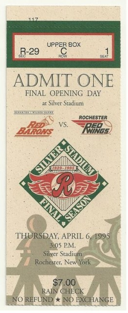 1995 MiLB Scranton WB Red Barons at Rochester Red Wings ticket stub