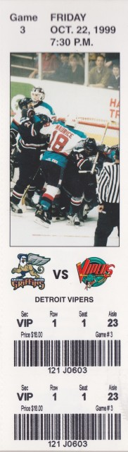 1999 IHL Grand Rapids Griffins unused ticket vs Detroit Vipers