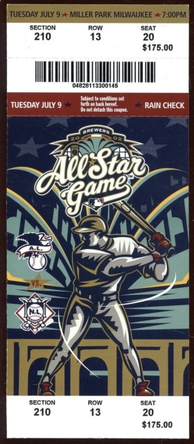 2002 All Star Game at Milwaukee Brewers ticket stub 35