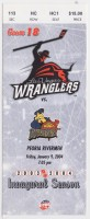 2004 ECHL Las Vegas Wranglers ticket stub vs Rivermen