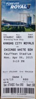 2015 MLB White Sox at Royals ticket stub