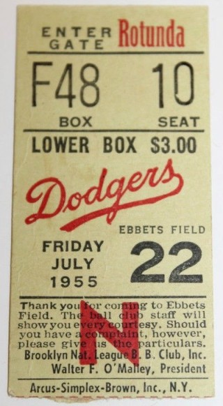 Hank Aaron Home Run ticket stub - 1955