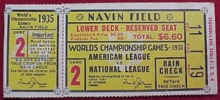 1935 World Series Game 2 Ticket stub Cubs at Tigers