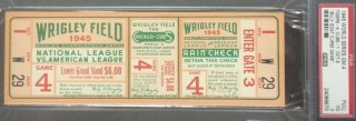 1945 World Series Game 4 Ticket Stub Tigers at Cubs Billy Goat Game