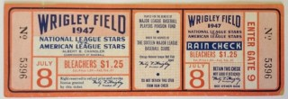 1947 All Star Game Wrigley Field full ticket