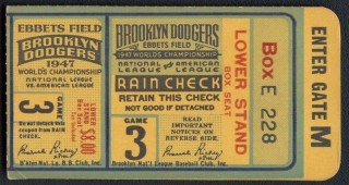 1947 World Series Game 3 Ticket Stub Yankees at Dodgers