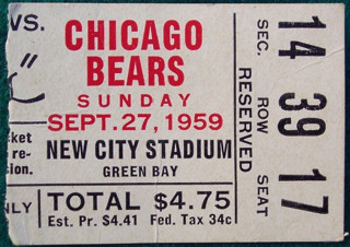 1959 Chicago Bears at Green Bay Packers ticket stub Vinci Lombardi 1st win 472