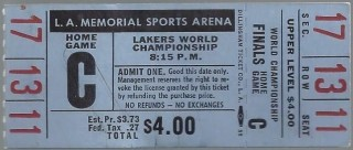 1963 NBA Finals Game 6 Celtics at Lakers full ticket 259